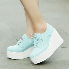 Korean Canvas Women Round Toe Wedge Platform Lace Up Creeper Heel Sneakers Shoes
