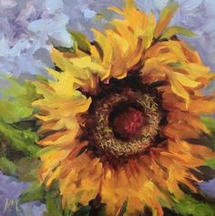 Artists Of Texas Contemporary Paintings and Art: Summer's Memory, Sunflower Painting by Nancy Medina