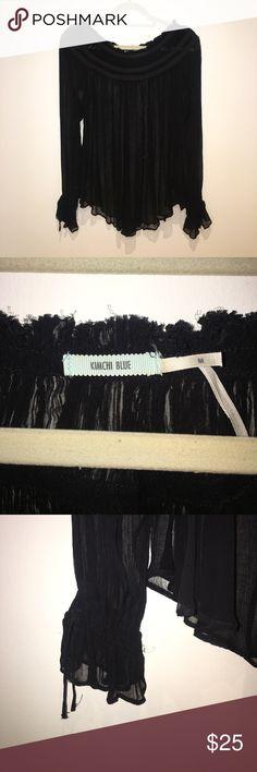 Boho Black Overshirt Kimchi Blue black see through long sleeve top. Loose fitting, worn once. Size M. Kimchi Blue Tops Blouses