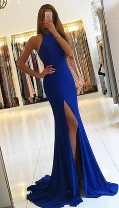 Sublimate High Neck Long Mermaid Prom Dressses Evening Dresses High Split Formal Gowns