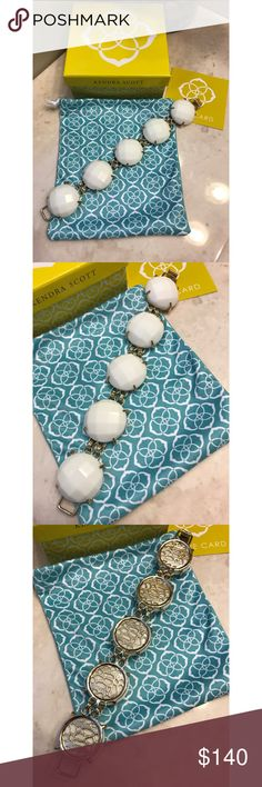 """Kendra Scott """"Cassie"""" Bracelet - NWOT! Kendra Scott """"Cassie"""" Bracelet in White set in gold. Brand new without the tags. Never worn! No signs of wear and no flaws. From a smoke-free home as well. No trades! Firm price! Bundle for a discount!! Kendra Scott Jewelry Bracelets"""