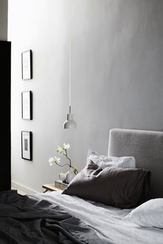 beautiful lush calm grey bedroom. light and sophisticated.