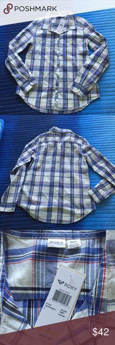 Roxy Plaid Shirt 🎁 Roxy Seaspray Plaid shirt • Nice material • Perfect for fall • Size M • NWT Roxy Tops Button Down Shirts