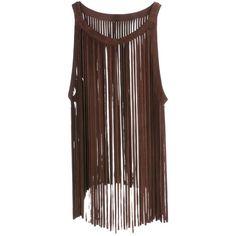 ELLESD - Fringe Top (15.510 RUB) ❤ liked on Polyvore featuring tops, brown top, fringe top and brown fringe top