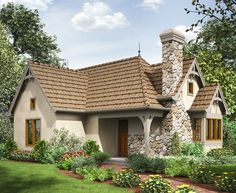 2 Bed Tiny Cottage House Plan - 69593AM | 1st Floor Master Suite, CAD Available, Cottage, European, Narrow Lot, PDF | Architectural Designs