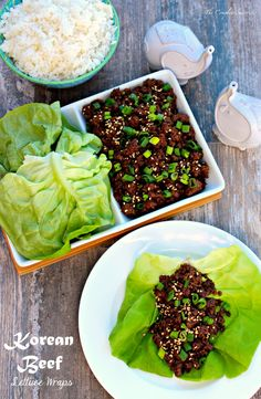 Korean Beef Lettuce Wraps - Sweet and mildly spiced beef, cooked quickly and enjoyed in a sturdy leaf of lettuce, creating smiles all around the table ~ The Complete Savorist Beef Lettuce Wraps, Lettuce Wrap Recipes, Korean Lettuce Wraps, Asian Recipes, Healthy Recipes, Ethnic Recipes, Asian Desserts, Healthy Foods, Korean Beef Recipes