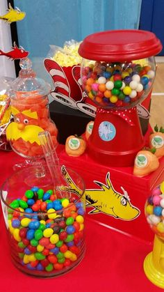 Dr. Seuss birthday party candy! See more party planning ideas at CatchMyParty.com!