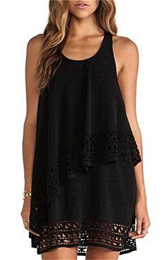 Shein Women's Plain Black Sleeveless Ruffle Shift Dress (M, Black) Shein http://www.amazon.com/dp/B00YBYBK4Q/ref=cm_sw_r_pi_dp_cSQJvb16CY0JS