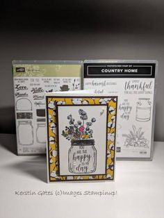One Card, two stamp sets. Country Home and Jar of Love. Just lovely! Fall Cards, Winter Cards, Happy Birthday Gorgeous, Craft Cards, Love Stamps, Stamping Up Cards, Card Patterns, Coordinating Colors, Stamp Sets