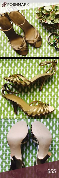 ZARA STRAPPY SANDALS Stunning gold strappy heels!!  Perfect for a night out on the town, paired with a dress or jeans.                                                Never worn, mint condition.  No dust bag or box. Zara Shoes Sandals