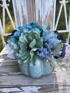 Fall pumpkin arrangement  floral Fall decor  silk flower