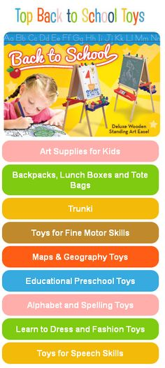 {Top Back to School Toys} Start the school year off right with educational toys, back to school gear and art supplies that promote school readiness and hold their play value for years. See the list: http://www.melissaanddoug.com/top-back-to-school-toys