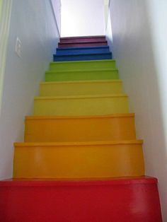 My friend renovated her attic; which has become her daughters' bedrooms.  Check out the stairs!  <3!