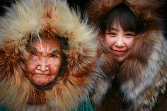 Yupik elder, Olinka K. Nicolai, at home with her great granddaughter, Josephine. photo-mishlerphotos - beautiful and amazing photo shared by Savaş! National Geographic Photographers, Gillingham, Arctic, Alaska, Nativity, Cool Photos, Fur, Culture, Photography