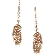 These are cute; feathers or palm tree or fern fronds, these could work many ways   Lonna & Lilly Feather Drop Earrings featuring polyvore, women's fashion, jewelry, earrings, rose gold, rose gold tone jewelry, feather jewelry, rose stud earrings, rose gold tone earrings and feather earrings