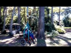 Dexter hd the chance to have some fun on a flying fox - zooming along the wire in his wheelchair. Cerebral palsy won't stop him!