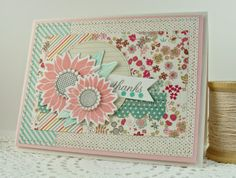 PTI Simple Sunflower, Banner Border Die MFT: Stitched Circle Stax http://simplyhandmadebyheather.blogspot.com/2014/06/deconstructed-sketch-154.html
