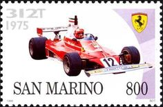 Ferrari 312T, 1975 Ferrari, Postage Stamp Art, Stamp Collecting, Formula One, Grand Prix, Transportation, Automobile, Racing, Buses