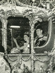 Young Queen Elizabeth and her Prince waving to admirers National Geographic - September 1953