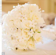 white roses, white stephanotis, diamond stems, crystals