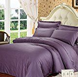 #3: BENBU High-end fashion bedding Purple solid color cotton soft and comfortable bedroom twin/Queen/King size bed four-piece quilt cover set (quilt sheet two pillow cases)  king