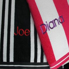 Mens personalised beach towels. #beachtowels