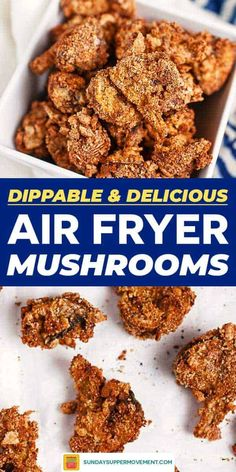 game day food Light, crispy, and easy AIR FRYER MUSHROOMS are a flavorful appetizer you'll love! Fried mushrooms make an easy game day appetizer, PERFECT for dipping. Deep Fried Mushrooms, Stuffed Mushrooms, Supper Recipes, Appetizer Recipes, Easy Recipes, Vegan Recipes, Fried Mushroom Recipes, Deep Fryer Recipes, Air Frier Recipes
