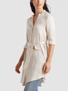 c0eeea5ee9409 Sandwashed Silk Charmeuse Shirt Dress
