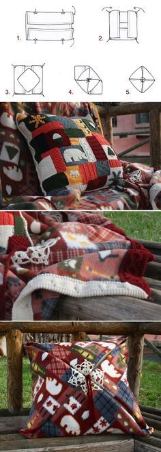 Origami da divano: plaid(155x180cm), bordato a ferri a mano, cuscino in 100% lana lavorata a maglia, a mano, a #patchwork che richiama il plaid, imbottitura in poliammide. Pezzo unico. Sofa-Origami: polar fleece blanket (61x71 inch), with #handknitted trimming, big cushion in 100% handknitted wool: the cushion patchwork links with the blanket pattern. Filling in polyammide. 5 easy steps to close the blanket on the cushion! Unique piece €130