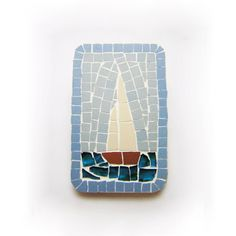 fridge magnet  Mosaic with ceramic tiles  sailboat by cubo on Etsy
