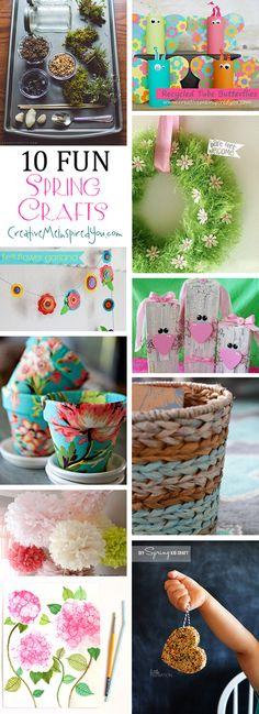 10 Fun Spring Crafts - CreativeMeInspiredYou.com terrarium, butterflies, toilet paper roll crafts, kid's crafts, wreaths, flowers, flower pots, baskets, planters, bunnies, wood crafts, tissue flowers, bird feeders, bubble paint art, DIY, easy crafts