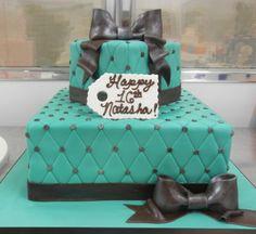 Teal and metallic Sweet 16 cake
