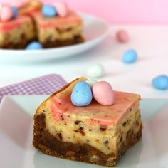 Cadbury mini egg cheesecake bars (mini eggs in the crust, batter, and on top!)