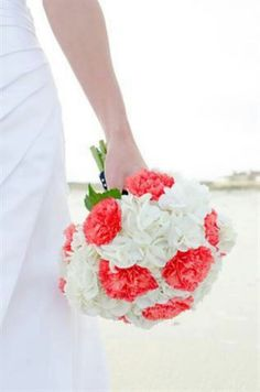 White hydrangea with cool coral carnations. #bouquet