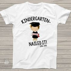 personalized kids shirts, kindergarten completion boy, graduation t-shirt