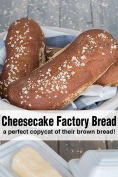 Cheese Cake Factory, The Cheesecake Factory, Bread Machine Recipes, Bread Recipes, Copycat Recipes, Chicken Recipes, Brown Bread Recipe, Best Wheat Bread Recipe, Molasses Bread