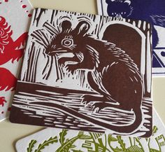 "A linocut beermat by Mark Hearld for the ""St Jude's At Tinsmiths"" 2012 exhibition http://allthingsconsidered.co.uk/2012/03/st-judes-at-tinsmiths.html"