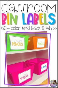 These 64 classroom supply bin labels are perfect for back to school organization! The labels come in both color and black and white. If you don't have access to color ink but still want that pop of color in your classroom, you can print the black and white labels onto colored paper! #classroomdecor #classroomorganization #binlabels #backtoschool