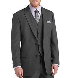 MEN'S GREY TWO BUTTON MULTI-STRIPES SLIM FIT SUIT WITH VEST: Men Suits Designer Men Wedding Suits | Suit2Suit.com
