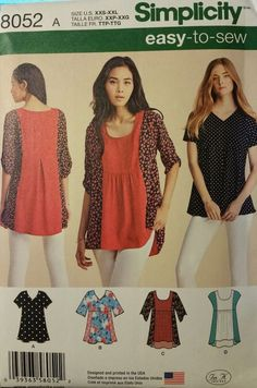 Simplicity Pattern 8052 sizes 4-26 Misses' Tops 4 styles