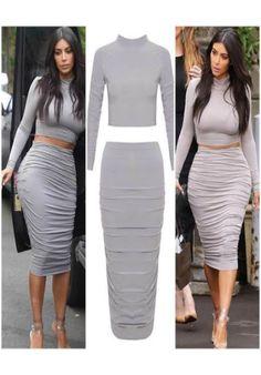 KIM K INSPIRED Crop Top & Pencil Skirt 2 Piece Set - Celeb Style Dresses - Dresses