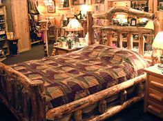 I love this bed Rustic Bedroom Sets, Fa, Barn Homes, Log Cabins, Lodges, Bedrooms, Nature, Furniture, Home Decor