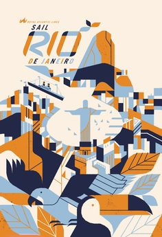 Travel poster for Rio de Janeiro by Kevin Dart. I love the limited colour palette - this seems to be a theme with many travel posters.