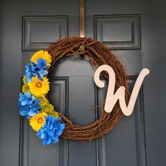 Custom spring wreath. Made by Krystle's Craft Closet