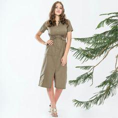 Kadın Haki Renk Yanlar Çıtçıtlı,Fermuarlı Günlük Elbise