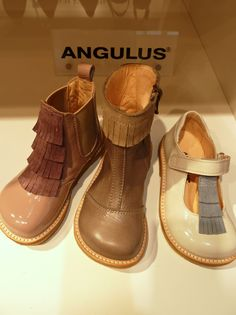 Fringed suede decoration on shoes and boots from Angulus for summer 2012 kids footwear