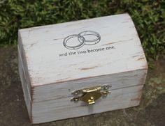 Boîte oreiller de bague de mariage personnalisé anneau porteur boîte, ruban de couleur personnalisé, mariage rustique sur Etsy, 18,38€