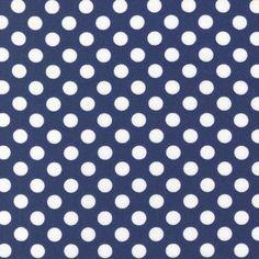 Navy Spot On Robert Kaufman Fabric  Navy and Whtie Polka Dot