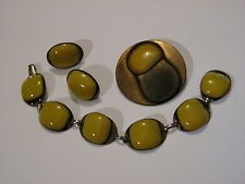 ...Modernists Kay Denning Copper,Enamel Bracelet,Earrings,and Brooch SET...