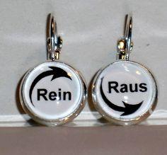Ohrringe Rein Raus Glas Metall Legierung Cabochon Ohrschmuck Modeschmuck Ø14mm
